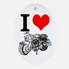 I Love Motorcycles Ornament (Oval)