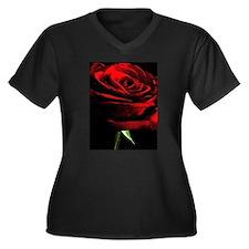 Red Rose of Love on Black Velvet Plus Size T-Shirt