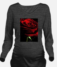 Red Rose of Love on Long Sleeve Maternity T-Shirt