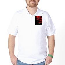 Red Rose of Love on Black Velvet T-Shirt