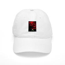 Red Rose of Love on Black Velvet Baseball Cap