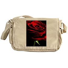 Red Rose of Love on Black Velvet Messenger Bag