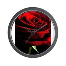 Red Rose of Love on Black Velvet Wall Clock
