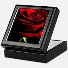 Red Rose of Love on Black Velvet Keepsake Box