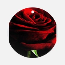 Red Rose of Love on Black Velvet Ornament (Round)