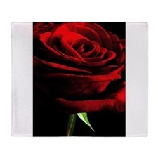 Red Rose of Love on Black Velvet Throw Blanket