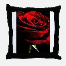 Red Rose of Love on Black Velvet Throw Pillow