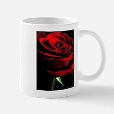 Red Rose of Love on Black Velvet Mugs