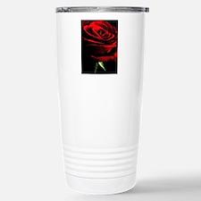 Red Rose of Love on Bla Travel Mug