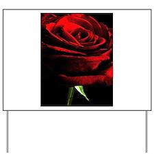 Red Rose of Love on Black Velvet Yard Sign