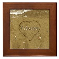 Triston Beach Love Framed Tile