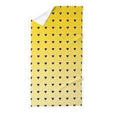 Hearts, Yellow Beach Towel