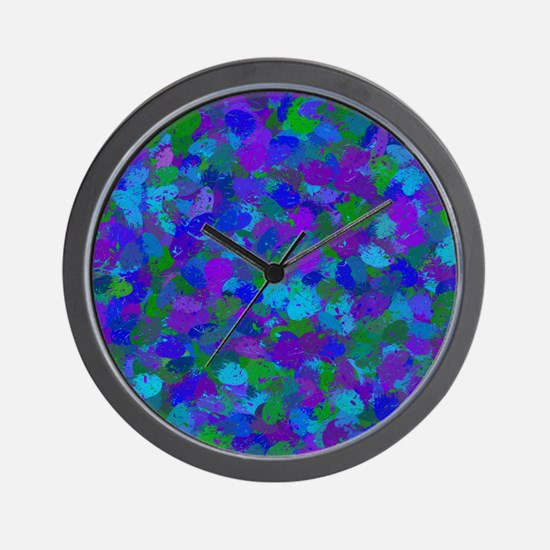 Peacock Color Splatters 4755 Wall Clock