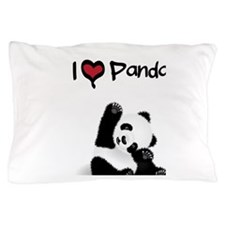 I Heart Pandas Pillow Case