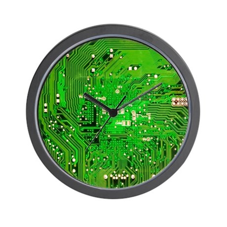 Circuit board green wall clock by 64colorliving for Green wall clocks uk