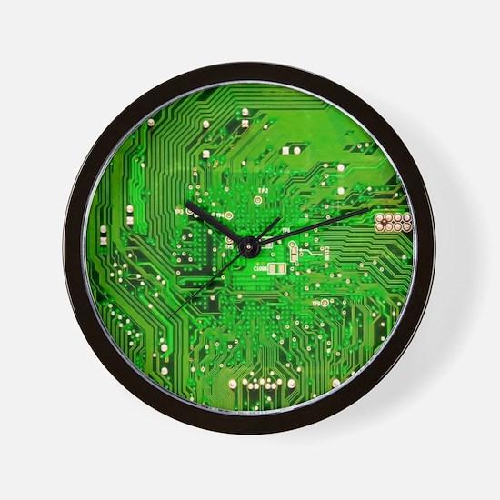 Circuit Board - Green Wall Clock