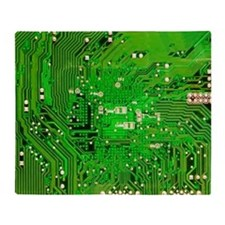 Circuit Board - Green Throw Blanket