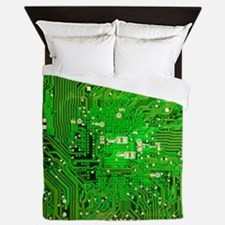 Circuit Board - Green Queen Duvet