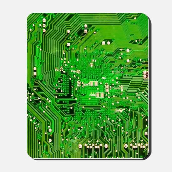 Circuit Board - Green Mousepad