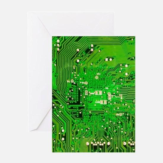 Circuit Board - Green Greeting Card