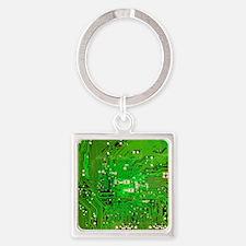 Circuit Board - Green Square Keychain