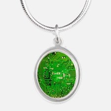 Circuit Board - Green Silver Oval Necklace