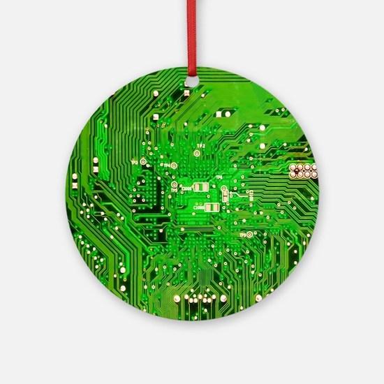Circuit Board - Green Ornament (Round)