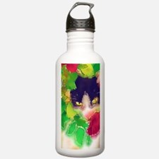 Cat and Roses Water Bottle