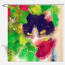 Cat and Roses Shower Curtain