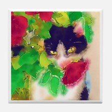 Cat and Roses Tile Coaster