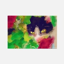 Cat and Roses Rectangle Magnet