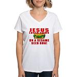 Jesus Loves Animals Women's V-Neck T-Shirt