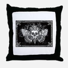 vintage mothman skull Throw Pillow