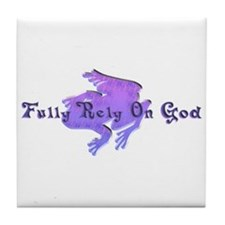 Purple Fancy Frog Tile Coaster