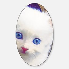 Blue-Eyed Kitten Sticker (Oval)