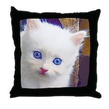 Blue-Eyed Kitten Throw Pillow