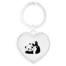 Baby Panda Heart Keychain