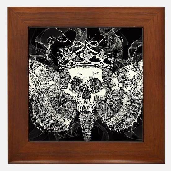 vintage mothman skull Framed Tile