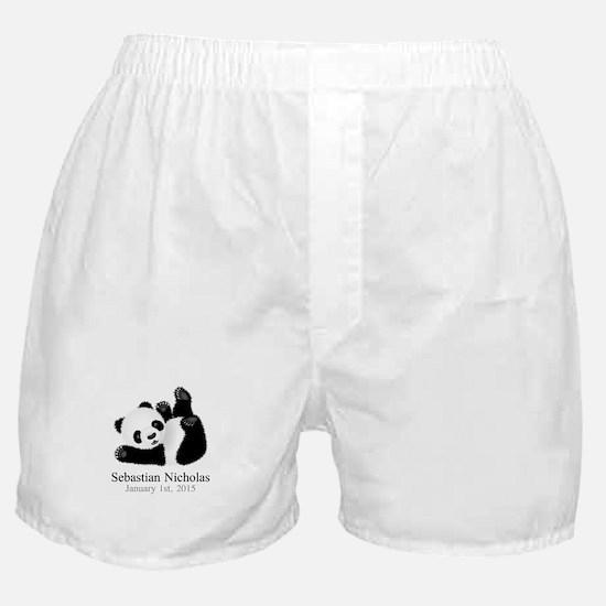 CUSTOM Baby Panda w/Name Birthdate Boxer Shorts