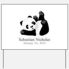 CUSTOM Baby Panda w/Name Birthdate Yard Sign