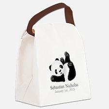CUSTOM Baby Panda w/Name Birthdate Canvas Lunch Ba