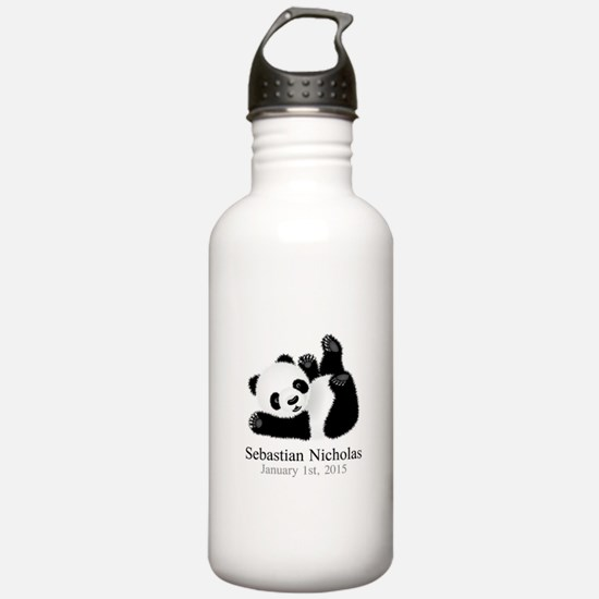 CUSTOM Baby Panda w/Name Birthdate Water Bottle