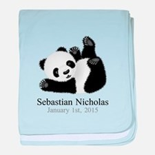 CUSTOM Baby Panda w/Name Birthdate baby blanket