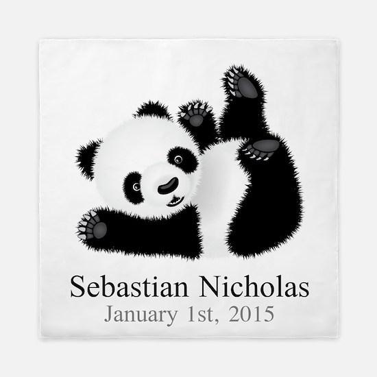 CUSTOM Baby Panda w/Name Birthdate Queen Duvet