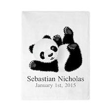 CUSTOM Baby Panda w/Name Birthdate Twin Duvet