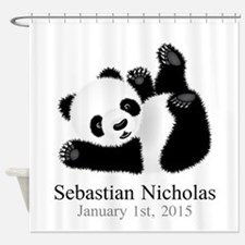 CUSTOM Baby Panda w/Name Birthdate Shower Curtain