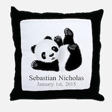 CUSTOM Baby Panda w/Name Birthdate Throw Pillow