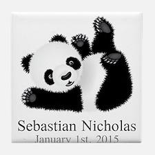 CUSTOM Baby Panda w/Name Birthdate Tile Coaster