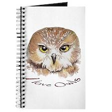 """""""I love Owls"""" Cute Watercolor Owl Bird Art Journal"""