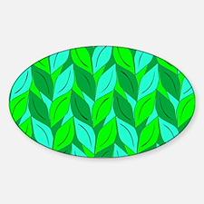Green Leaf Pattern Sticker (Oval)